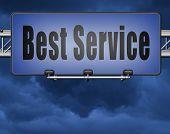 best service 100% customer satisfaction guaranteed road sign billboard 3D, illustration  poster