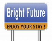 bright future ahead road sign indicating direction to planning a happy future having a good plan bil poster