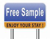 Free product sample offer or gratis download webshop button or web shop, road sign billboard.  3D, i poster