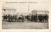 Field Artillery Instructions - Early 1900 WWI postcard depicting soldiers receiving artillery instructions at Camp Sherman in Chillicothe, Ohio.