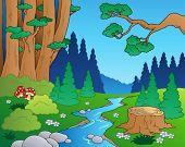 Paisaje del bosque 1 - ilustración vectorial de dibujos animados.