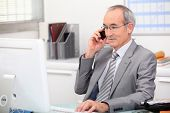 Business consultant on phone