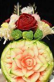 Garnished with gourd carving into the surface