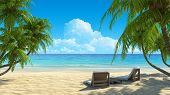 Two beach chairs on idyllic tropical white sand beach. Shadow from the palm trees. No noise, clean,