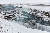 Gullfoss Waterfall, Iceland, With Snow In Winter poster