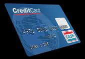 A close up of a bogus credit on white. Globe and credit card designed and rendered in studio.