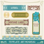set vectors art nouveau
