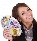 Постер, плакат: Счастливая женщина с группой денег Изолированные