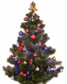 Christmas tree with  light and ball. Isolated.