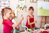 Children learn painting pencil in art class.