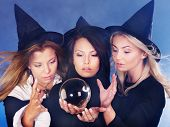Group young woman with crystal ball. Fortune Telling.