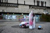Several Used Spray Cans With Pink And White Paint And Caps For Spraying Paint Under Pressure Is Lies poster