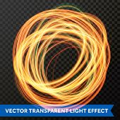 Circle Light Line Gold Swirl Effect. Vector Glitter Light Fire Flare Trace. poster