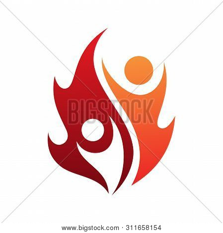 poster of Flame Life Vector Icon With Two People In Abstract Style On The White Background. Fire Icon For Your