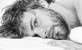 Man Attractive Macho Relax And Feel Comfortable. Man Unshaven Bearded Face Sleep Relax Or Just Wake  poster