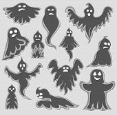 Cartoon Spooky Ghost Character Set. Halloween Scary Holiday Monster Design Ghost Character. Costume  poster