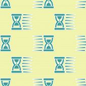 Green Old Hourglass With Flowing Sand Icon Isolated Seamless Pattern On Yellow Background. Sand Cloc poster