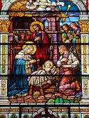 Jesus Nativity Scene Stained Glass Saint Peter Paul Catholic Church San Francisco California
