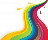 Colorful Splash Liquids Flowing In Wavy Pattern