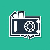 Blue Safe And Money Icon Isolated On Green Background. The Door Safe A Bank Vault With A Combination poster