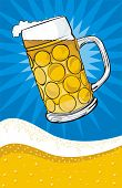 stock photo of beer mug  - golden light draft beer   - JPG