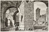 Baths of Caracalla ruins old view, Rome. Created by Catenacci, published on Magasin Pittoresque, Paris, 1882