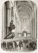 Basilica of Mary Magdalene interior in Saint-Maximin-la-Sainte-Baume (Committee for Var railway meeting). Created by Best and Cosson-Smeeton, published on L'Illustration, Paris, 1863