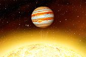 Planet Jupiter  . Star The Sun Is Close . This Image Elements Furnished By Nasa . poster