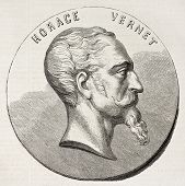 Horace Vernet Medallion (French painter). Created by Chenu, published on L'Illustration, Journal Uni