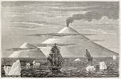 Beaufort island and volcano old view, Antarctica. Created by Sellier and Meunier, published on Magas