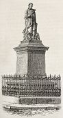 Jacques de Vaucanson statue old view, Grenoble, France (French inventor). By unidentified author, published on Magasin Pittoresque, Paris, 1882