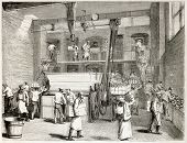 Stevens Company Bakery old illustration, London. By unidentified author, published on L'Illustration