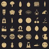 Vegetarian Cafe Icons Set. Simple Style Of 36 Vegetarian Cafe Icons For Web For Any Design poster