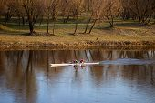 Rowing Crew. Double Scull Rowing Boat. Two Rowers poster