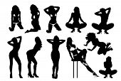 stock photo of stripper shoes  - Woman silhouettes 4 - JPG