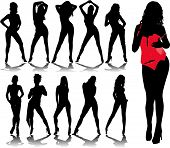 stock photo of stripper shoes  - woman silhouettes 6 - JPG