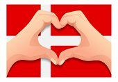 Denmark Flag And Hand Heart Shape. Patriotic Background. National Flag Of Denmark Vector Illustratio poster