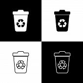 Set Recycle Bin With Recycle Symbol Icons Isolated On Black And White Background. Trash Can Icon. Ga poster