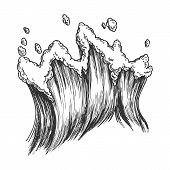 Rushing Tropical Sea Marine Wave With Drop . Tall Foamy Marine Purl Wind Storm Tide Surf Water. Moti poster