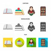 Vector Design Of Library And Textbook Symbol. Collection Of Library And School Stock Vector Illustra poster
