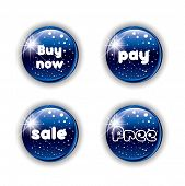 Blue christmas button for your website in editable vector format