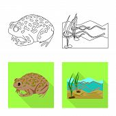 Isolated Object Of Wildlife And Bog Icon. Set Of Wildlife And Reptile Stock Symbol For Web. poster