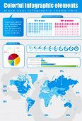 Colored Infographics with world map and charts