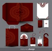 Stationery set design with ancient ornaments in vector format