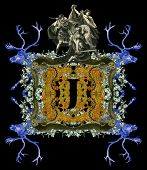Luxurious Victorian initials letter J, after a engraving