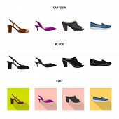 Isolated Object Of Footwear And Woman Symbol. Set Of Footwear And Foot Vector Icon For Stock. poster