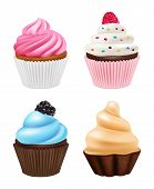 Cupcakes Realistic. Sweets Desserts Muffins Cake With Chocolate And Cream Vector Pictures Of Cupcake poster