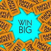 Win Big!  Is The Theme Of This Graphic With Space For Text.  Great For Raffle Poster. poster