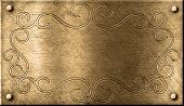 placa de bronze grunge com padrão floral