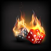 vector burning dice on dark background